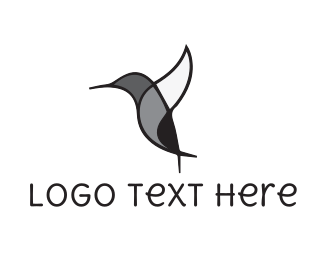 Colibri - Black Hummingbird logo design