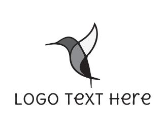 Monochrome - Black Hummingbird logo design