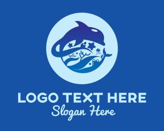 Ocean Park - Blue Ocean Dolphin logo design