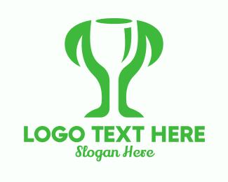 Prize - Negative Space Trophy Plant logo design