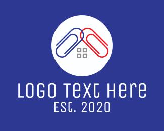 Office Supplies - Home Paper Clips logo design