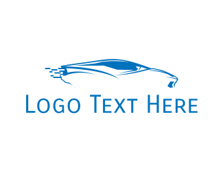 Fast Car - Blue Car logo design