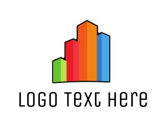 Real Estate - Colorful Buildings logo design