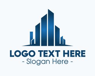 Business District - Geometric Blue City logo design
