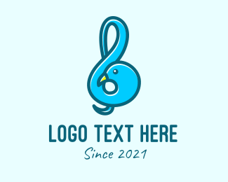 Animal - Blue Dove G Clef  logo design