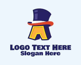 Top Hat - Magician Hat Lettter A logo design