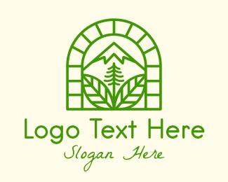 Brick - Brick Window Mountain Peak logo design