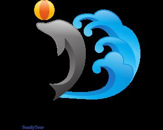 Tsunami - Dolphin & Waves logo design