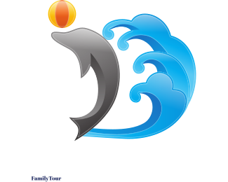 Hawaii - Dolphin & Waves logo design