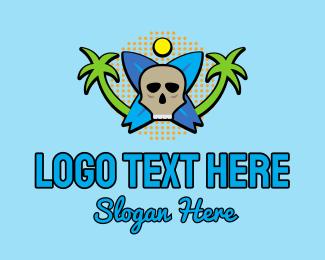 Surf Store - Tropical Surfing Surfboard Skull logo design