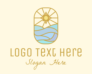 Mindfulness - Radiating Ocean Sun logo design