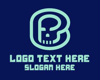 Skeletal - Skull Letter B logo design