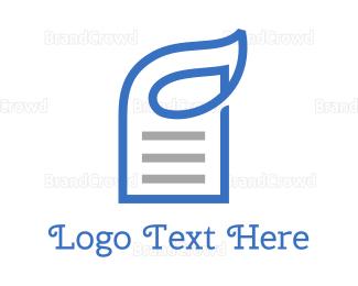 Contract - Blue Paper Leaf Outline  logo design
