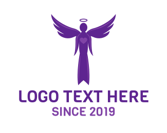 Angel - Purple Heart Angel logo design