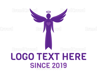 Cupid - Purple Heart Angel logo design