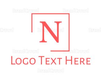 Classic - Pink Classic Letter N logo design