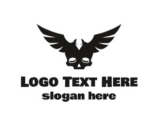 Skeletal - Black Wing Skull logo design