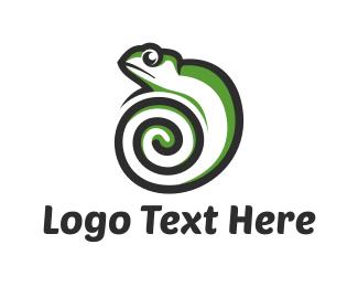 Iguana - Green Chameleon logo design