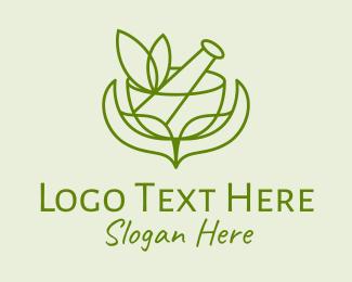 Cure - Green Herbs Pestle  logo design
