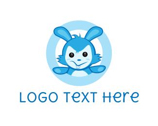 Stuffed Animal - Blue Rabbit logo design