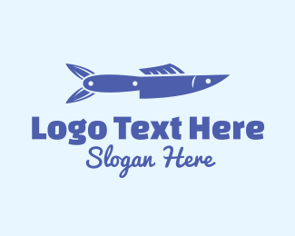 Salmon - Fish Knife logo design