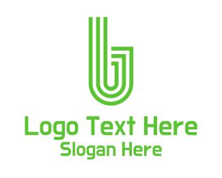 Fitness - Green Stripe Letter B logo design