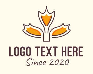 Maple - Dry Autumn Leaf logo design