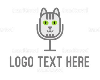 Radio - Cat Microphone logo design
