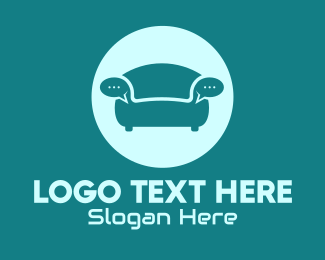 Texting - Couch Chat Bubble logo design