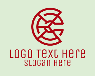 Pie - Digital Letter C Pie logo design
