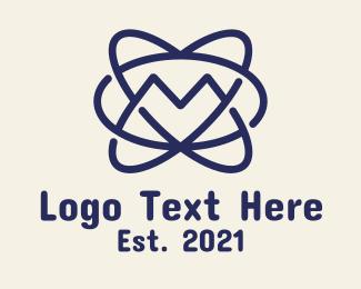 Atom - Blue Atom Letter M logo design