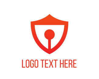 Red Shield - Red Keyhole Shield logo design