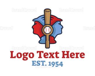 Cricket Bat - Baseball Players logo design