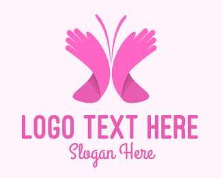 Hand Washing - Pink Butterfly Hands logo design