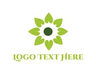 Wellness - Green Flower logo design