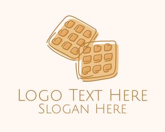 Pancake - Brown Waffle Line Art logo design