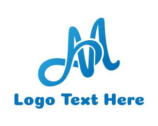 Letter Mark - Blue Infinity M logo design