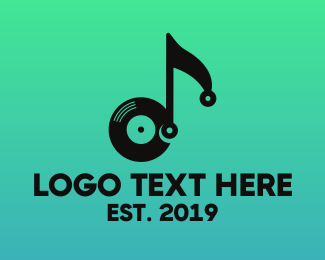 Retro - Black Vinyl Note logo design
