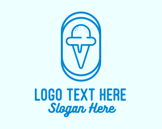 Yummy - Blue Ice Cream logo design