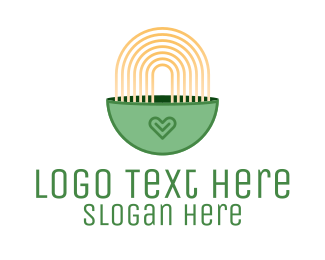 Chinese Food - Green Noodle Bowl logo design