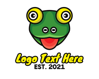 Hungry - Hungry Frog Outline logo design