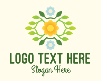 Flower Stand - Flower & Leaves Wreath  logo design