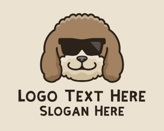 Sun Glasses - Fluffy Cool Dog logo design