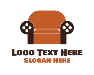 Couch - Brown Couch Gaming  logo design