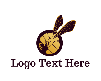Gold Wings - Golden Wasp logo design