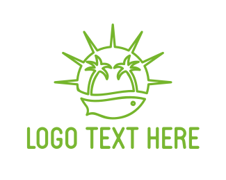 Coconut Tree - Green Island logo design