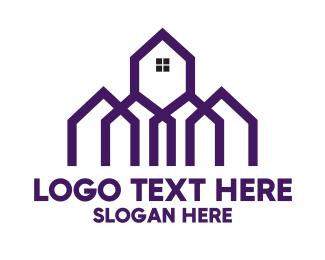 Village - Geometric Houses Outline logo design