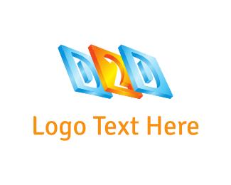 Letter D - D & 2 logo design