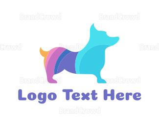 Dog Walking - Colorful Corgi logo design