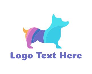 Dog Walker - Colorful Corgi logo design